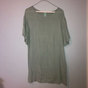 Green Shift Dress with Ruffle Sleeves